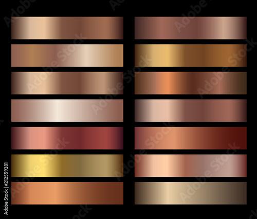 Bronze foil texture gradients templates set Canvas Print