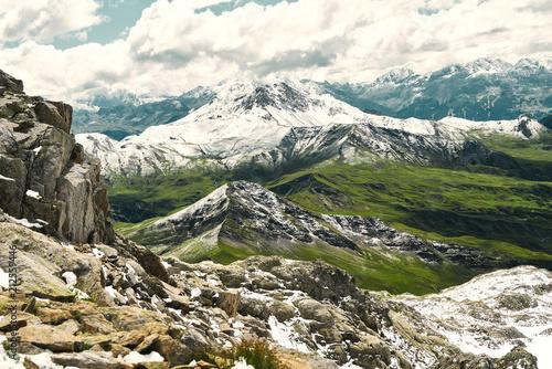 Deurstickers Wanddecoratie met eigen foto Berg im Gebirge der Alpen mit Schnee