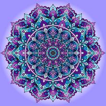 The Mandala Is Purple. Decorative, Ethnic Element. India, Islam Persia Element Pattern