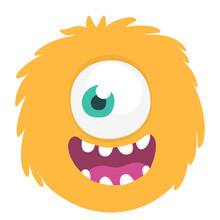 Happy Cartoon Monster Head Smiling With One Eye. Vector  Illustration