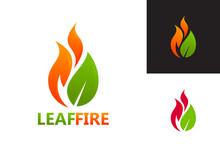Leaf Fire Logo Template Design...