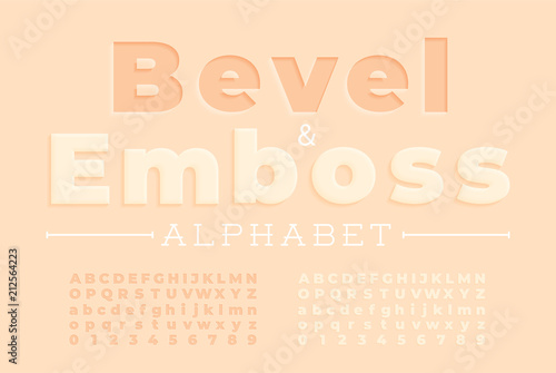Embossed font and alphabet. Fototapeta