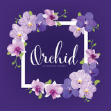 Floral frame with tropical orchid flowers on purple background template. Vector set of blooming floral for holiday invitations, greeting card and fashion design.