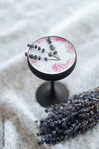 Tasty Nordic beverage with lavender petals