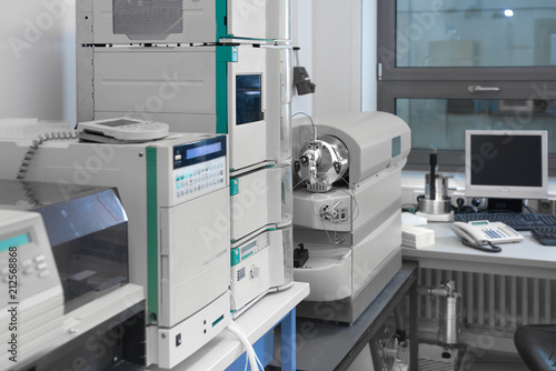 Fototapeta Modern laboratory interior out of focus, including equipment