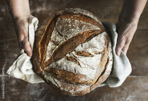 Fotobehang Bakkerij Homemade sourdough bread food photography recipe idea
