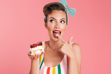 Beautiful Pin Up Woman Isolated Holding Cake.