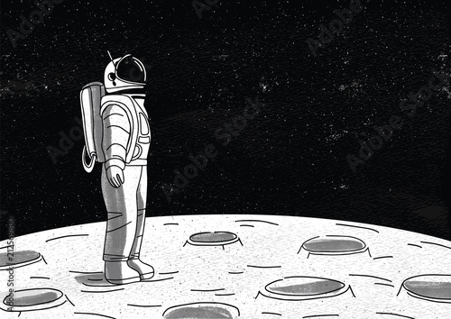 Lonely astronaut in spacesuit standing on surface of Moon and looking at space full of stars. Cosmonaut exploring planet or celestial object during mission. Monochrome hand drawn vector illustration.