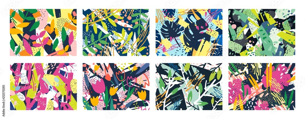 Collection of creative abstract horizontal backgrounds or backdrops with tree branches, leaves, colorful stains and scribble. Bright colored decorative vector illustration in trendy artistic style.