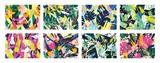 Kolekcja kreatywnych abstrakcyjnych poziomych tła lub tła z gałęziami drzew, liśćmi, kolorowymi plamami i bazgrołami. Jasne kolorowe dekoracyjne ilustracji wektorowych w modnym stylu artystycznym.