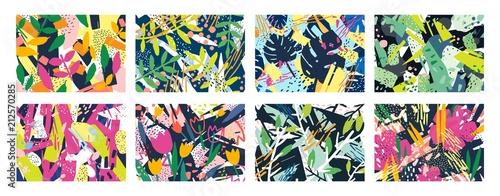 Ταπετσαρία τοιχογραφία Collection of creative abstract horizontal backgrounds or backdrops with tree branches, leaves, colorful stains and scribble