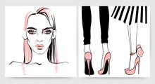 Fashion Illustration. Beautiful Face.