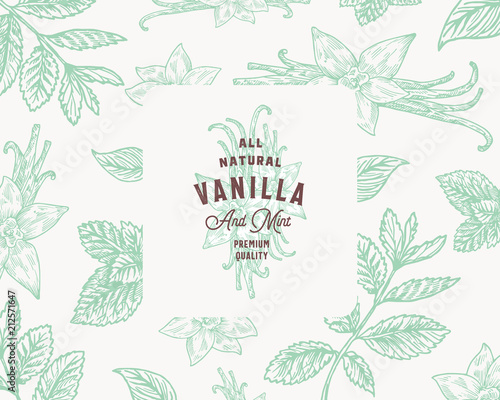 Hand Drawn Mint and Vanilla Vector Background Pattern Wallpaper Mural