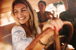 canvas print picture - Female friends enjoying on a road trip