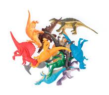 Plastic Dinosaur Toys Isolated On White Background