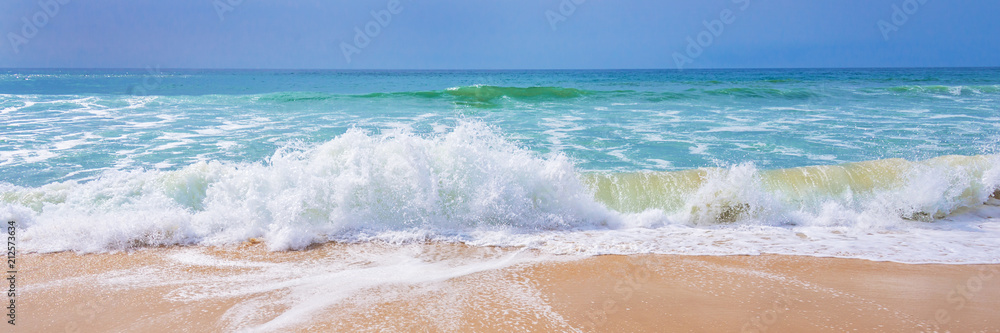 Fototapeta Atlantic ocean, front scenic view of waves on the beach, travel and summer panoramic background, web banner