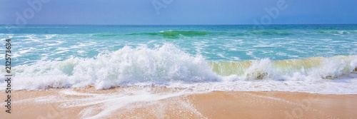 Spoed Fotobehang Water Atlantic ocean, front view of waves on the beach, tavel and summer panoramic background, web banner