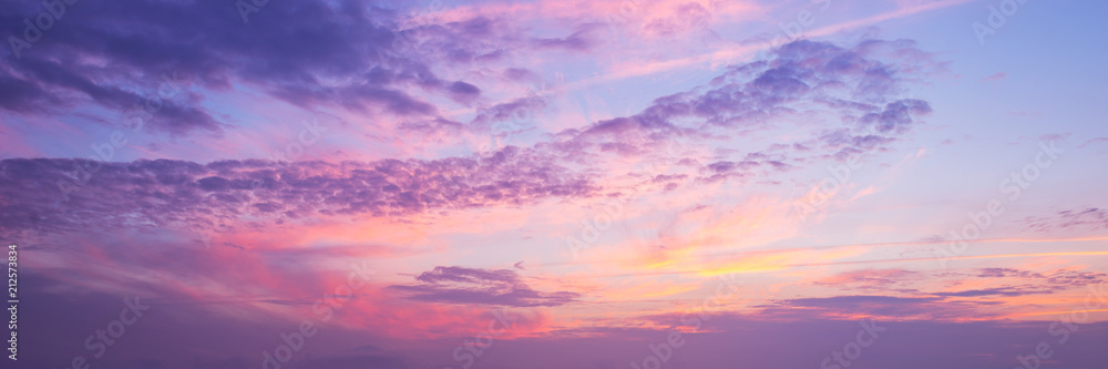 Fototapety, obrazy: Panoramic view of a pink and purple sky at sunset. Sky panorama background.