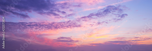 Panoramic view of a pink and purple sky at sunset. Sky panorama background. - 212573834