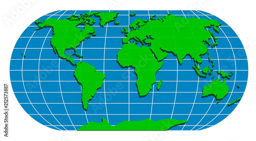 Green world 3D illustration 1. isolated on white. World map ...