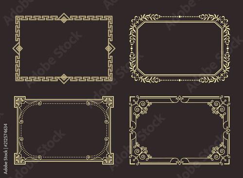 Fotografie, Obraz  Decorative Frames Set of Curved Graphic Ornament
