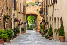 Beautiful Street In A Small Old Village Pienza, Tuscany.