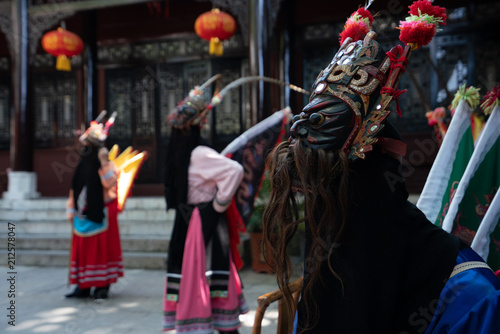 Poster China GUINZHOU, CHINA - JUNE 14, 2018: Miao women performing traditional dance