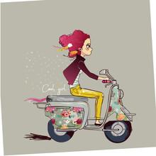 Cute Cartoon Girl On Motorbike