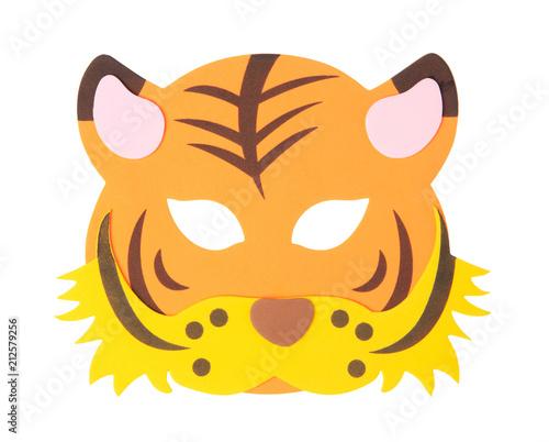 Fotografia, Obraz  tiger animal carnival mask isolated on white background