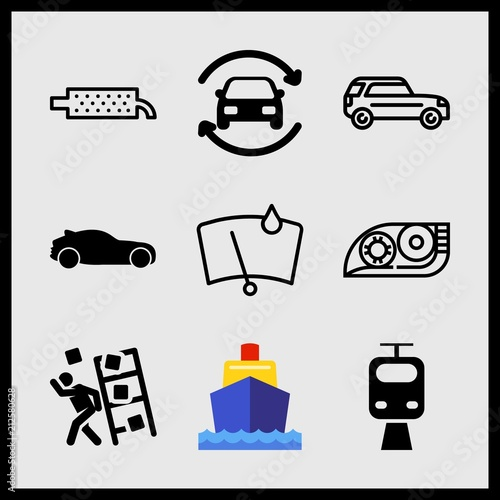 Fényképezés  Simple 9 icon set of car related hatchback car silhouette, long car, boat and accident vector icons