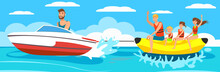 Vector Illustration Banana Boat With Group.