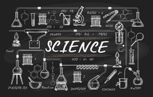 Blackboard School Science. Chemical Teacher Board Drawing, Vector Chemistry Classroom Sketch, Students Laboratory Chalk Drawings