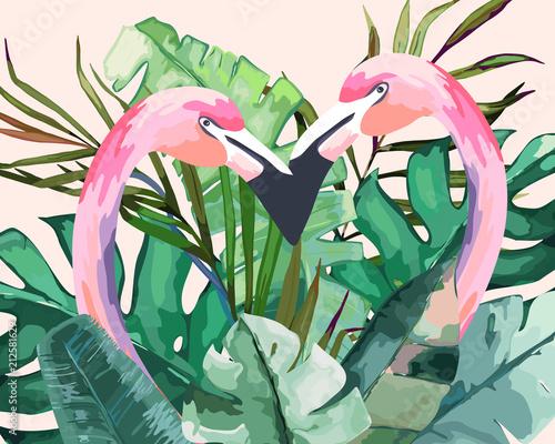 letni-motyw-zielone-tropikalne-liscie-wsrod-ktorych-wystaja-dwa-rozowe-flamingi-akwarela