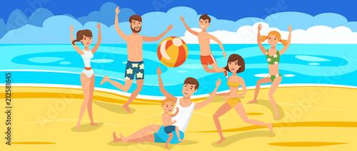 In de dag Regenboog Happy Friends playing Ball on Beach.