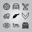 Simple 9 icon set of electronics related alloy wheel, car, download and car vector icons. Collection Illustration