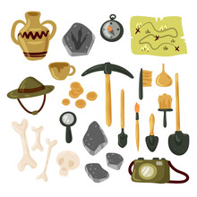 Archaeology Icon Set Vector Is...