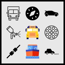 Simple 9 Icon Set Of Car Related Car Side View Black Shape, Compass, School Bus And Car And Nails Vector Icons. Collection Illustration