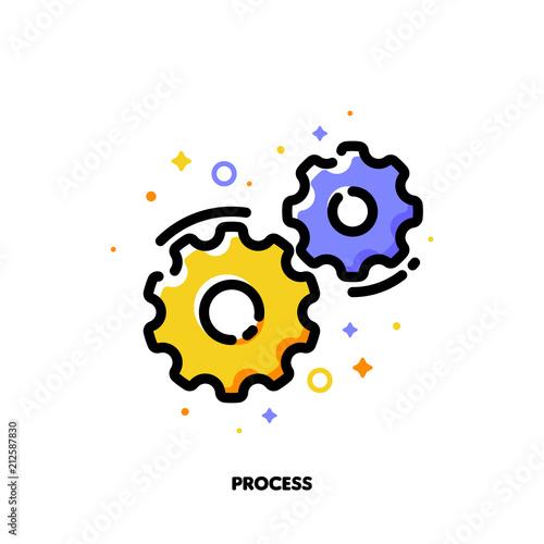 Fényképezés Icon of gear wheels for business process concept