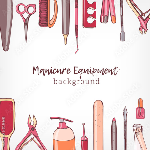Square Backdrop Decorated With Border Consisted Of Manicure And Pedicure Equipment Or Tools For Nail Care