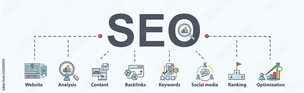 Fototapeta SEO search engine optimization banner web icon for business and marketing, traffic, ranking, optimization, link and keyword. Minimal vector infographic.