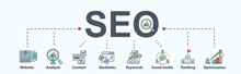 SEO Search Engine Optimization Banner Web Icon For Business And Marketing, Traffic, Ranking, Optimization, Link And Keyword. Minimal Vector Infographic.