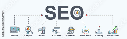 SEO search engine optimization banner web icon for business and marketing, traffic, ranking, optimization, link and keyword Canvas Print