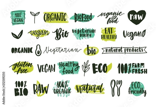 Fototapeta Collection of organic labels with handwritten lettering for natural and eco products, healthy vegetarian food. Set of tags isolated on white background. Colored hand drawn vector illustration. obraz