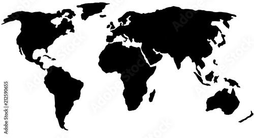 czarno-biała mapa świata