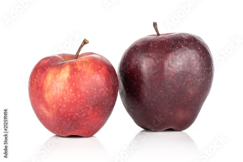 Photo  Pair of fresh apples red delicious isolated on white background light and deep red