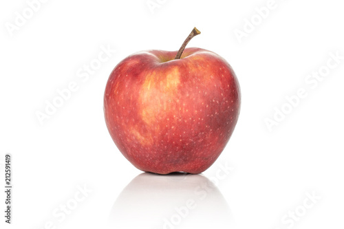Photo  One apple red delicious with a light blush isolated on white background