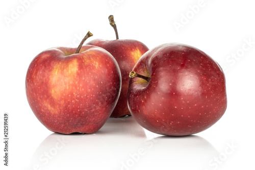 Photo  Three fresh apples red delicious set isolated on white background