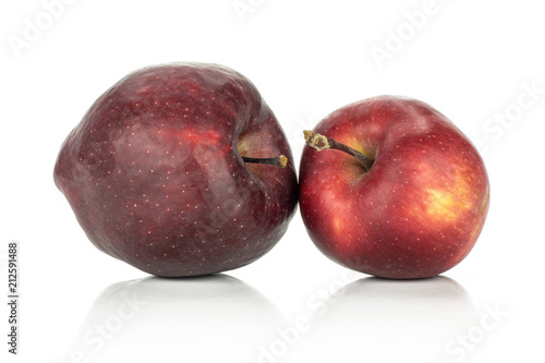 Photo  Two apples red delicious isolated on white background light and deep red