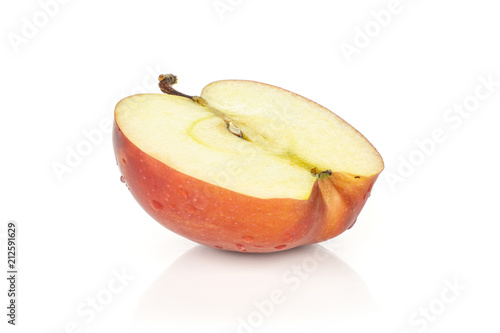 Photo  One red delicious apple half isolated on white background cross section