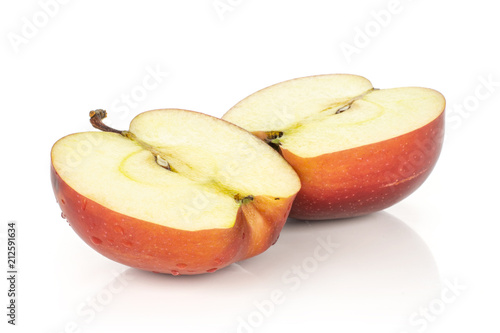 Photo  Two red delicious apple halves isolated on white background cross section